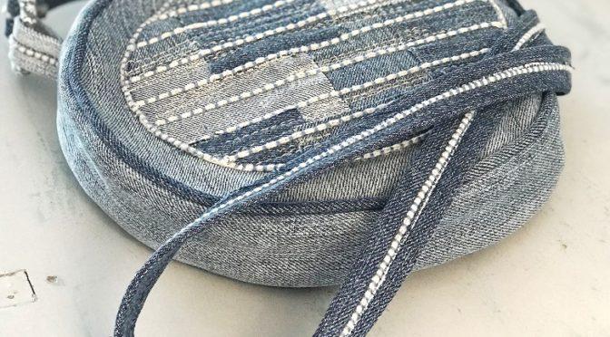 Rund jeansveske med sashiko-look – del 1